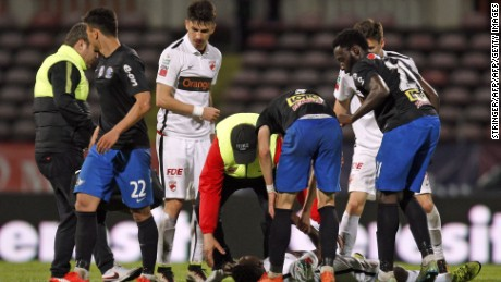 Cameroonian international soccer player Patrick Ekeng lies on pitch after he collapsed during the match between Dinamo Bucharest and Viitorul Constanta in the Romanian capital of Bucharest on Friday.