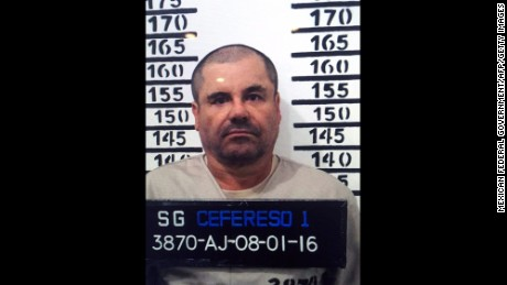 "(FILE) Handout police photograph of Joaquin Guzman Loera aka ""El Chapo"" taken on January 8, 2016, as he was imprisoned in Almoloya de Juarez, Mexico State. Mexican drug lord Joaquin ""El Chapo"" Guzman has asked his defense team to expedite his extradition to the United States because he is being mistreated in a maximum-security prison, his lawyer said March 2, 2016. AFP PHOTO/OFFICIAL SOURCESHO/AFP/Getty Images"