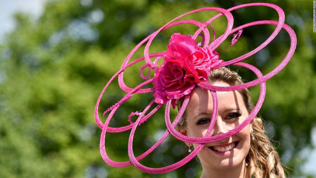 A festive attendee poses during the 142nd Kentucky Derby at Churchill Downs on Saturday, May 7, in Louisville.