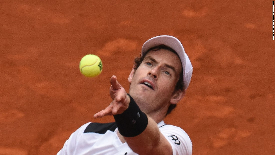 Murray prepares to serve in the semifinal of the Madrid Open.