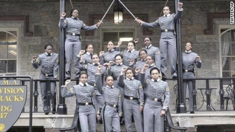 The cadets pose in front of historic Nininger Hall.