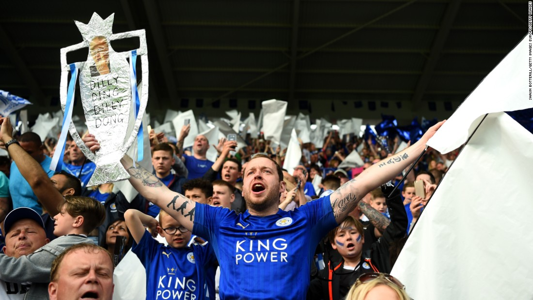 Inside the stadium, Leicester City supporters lap up their moment of glory.