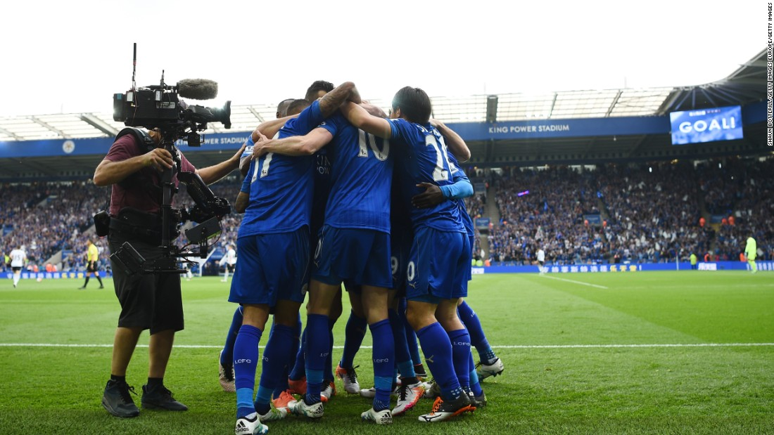 Leicester players celebrate. Although Everton would claim a late consolation, the English champions would comfortably close the game out.