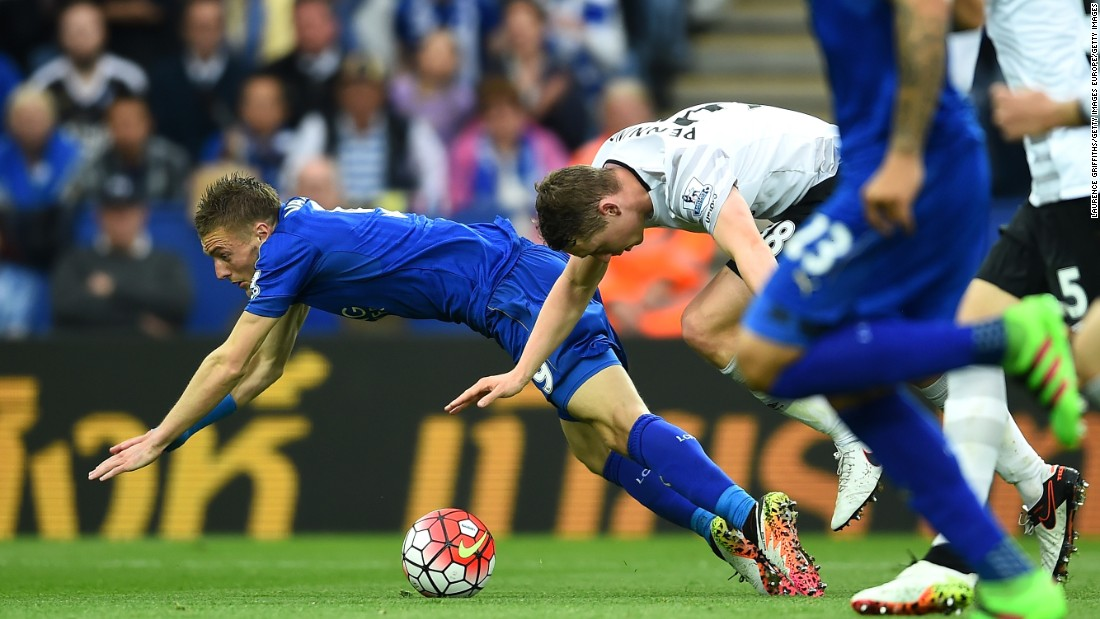 Jamie Vardy is felled in the Everton penalty area.