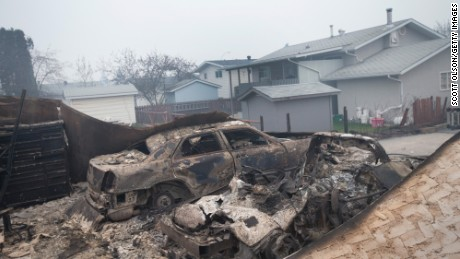 The wildfire charred vehicles across Fort McMurray