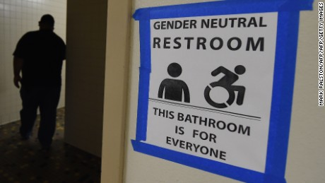 An all-gender restroom at Santee High School in Los Angeles, California.