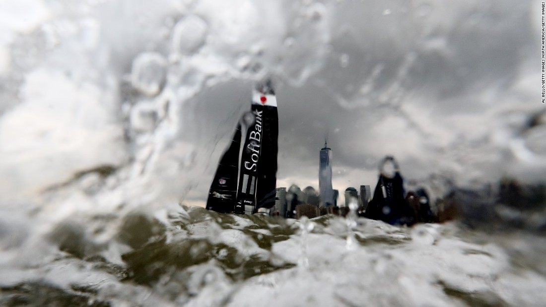 Softbank Team Japan sails during day one of the America's Cup World Series race on the Hudson River.