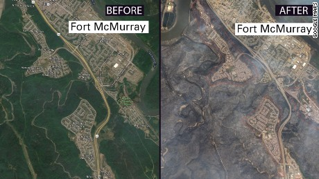 Fort McMurray fire before and after map