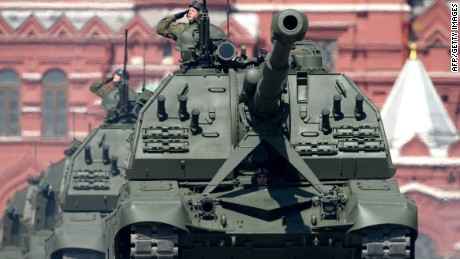 Russia's MSTA-M self-propelled 152 mm howitzers roll at Red Square during the Victory Day military parade in Moscow on May 9, 2016.