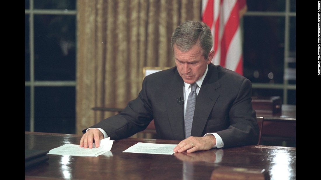 Bush reads through his remarks prior to delivering his address.