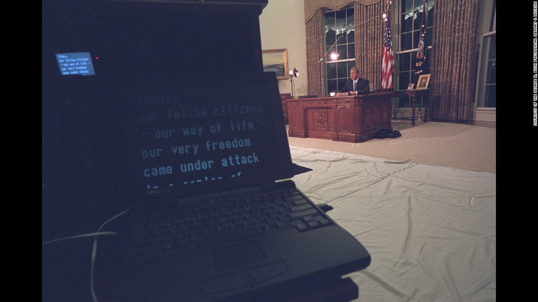 Bush delivers his address to the nation.