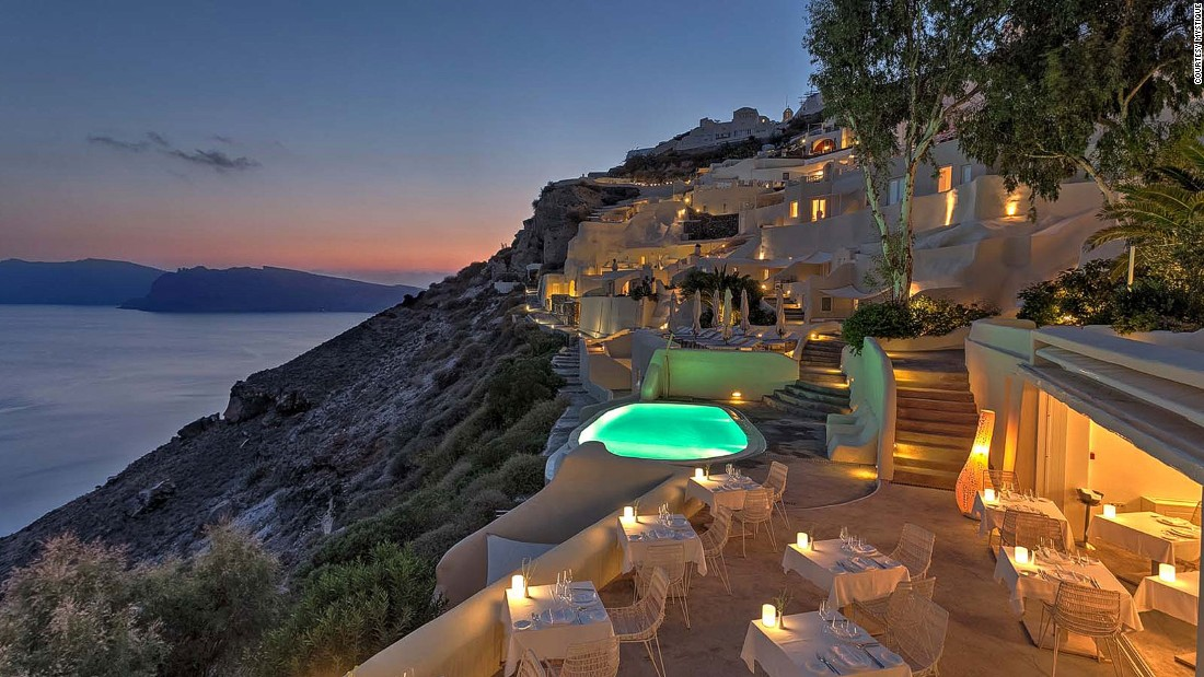 The Mystique hotel has some of the best views of the dormant volcano caldera over which Santorini is perched.