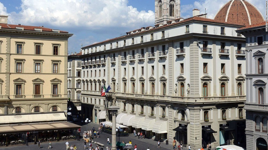 Located steps from Florence's Duomo, the Savoy's 102 rooms are decorated with fashion-inspired art by local artists.