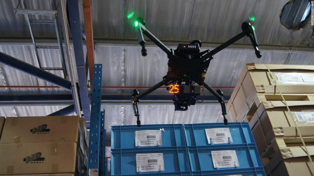 "Drone Scan is a device attached to a drone and used to scan barcodes. The drones can fly up and down the isles and do the inventory which is traditionally done by men using ladders, forklifts and handheld scanners. Co-founder Jasper Pons says he thinks warehouse workers will love their new assistants. ""They are going to say: 'give us the drones and give us back our weekends'.""<br />"