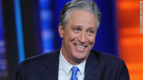 Stewart, pre-beard, hosting The Daily Show in 2015