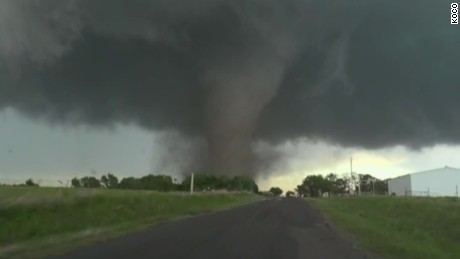 Storm chasers said that one tornado was up to a mile wide at one point.