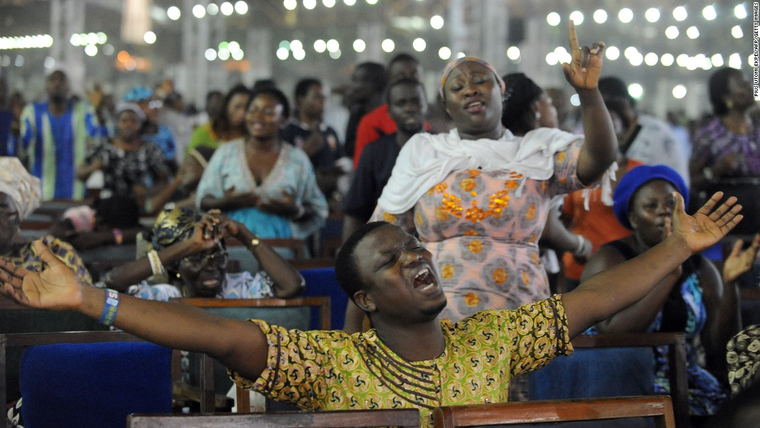 A service at a Pentecostal church on New Year's Day in Lagos, Nigeria, in 2014.