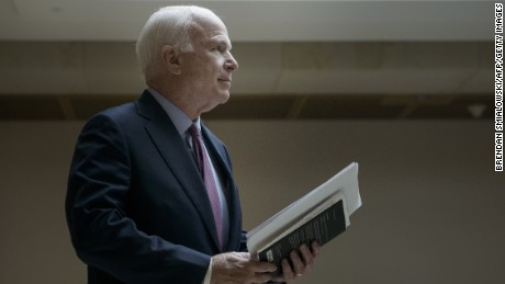 Senator John McCain leaves after a meeting with US Secretary of State John Kerry and other Senators on Capitol Hill April 14, 2015 in Washington, DC.