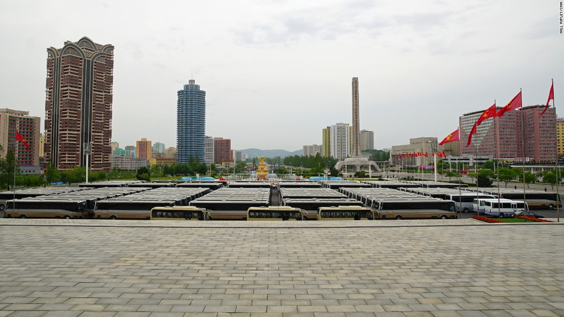 The full car park at the 7th Workers' Party Congress in Pyongyang, which was attended by some 3,4000 delegates.