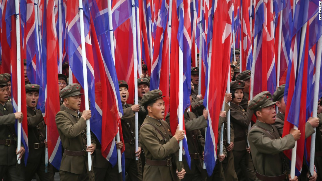 Parade participants carry the North Korean flag.