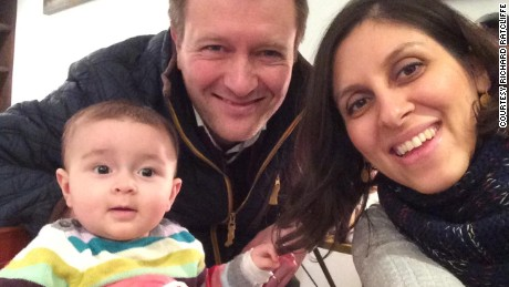 Nazanin Zaghari-Ratcliffe is pictured with her husband Richard and daughter Gabriella.