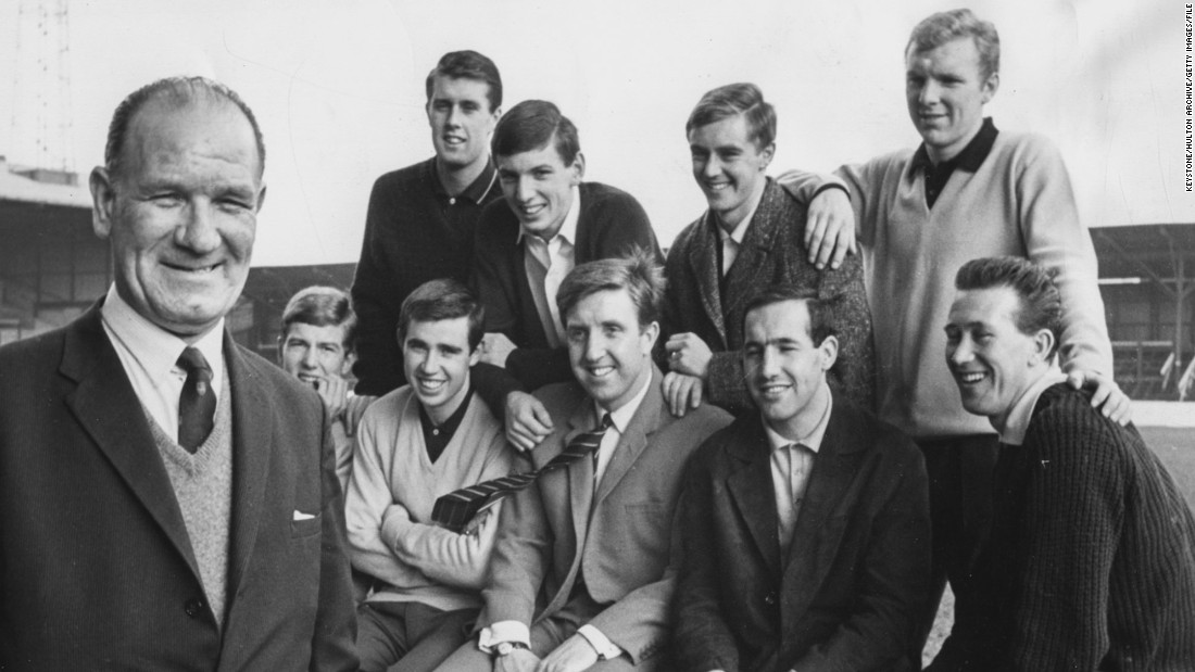 Three of the West Ham players pictured in 1964 with talent scout Wally St. Pier went on to win the World Cup with England just two years later: Geoff Hurst, Martin Peters and Bobby Moore.