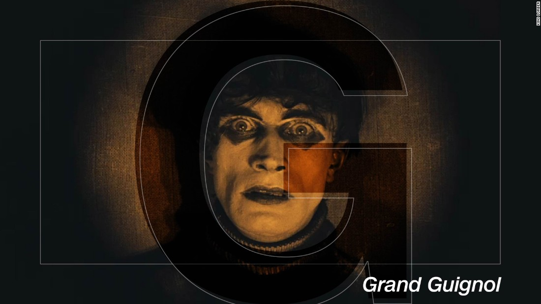 "Without Grand Guignol the horror movie genre could have turned out very differently -- and plenty of make-up artists would be out of a job. What started in a Parisian theatre in the late nineteenth century migrated to cinema in the silent movie era, and brought with it its dark themes of death, decay and psychological torture. Classics such as ""The Cabinet of Dr. Caligari"" (pictured) dealt with grisly murders via sideshow freaks, whilst Sir Christopher Lee's star turn in Hammer Horror ""Dracula"" showed the influence of the genre in the era of the talkies. Amid all the grizzle and gore, a legion of make-up artists were pioneering grotesque realism for the big screen -- some of it laughable now, but terrifying at the time."