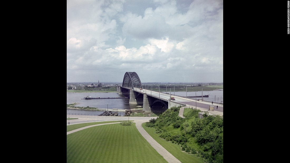 A bridge in Nijmegen, Netherlands, in 1947. Securing Dutch bridges was a key objective of Operation Market Garden, an Allied battle plan that came up short.