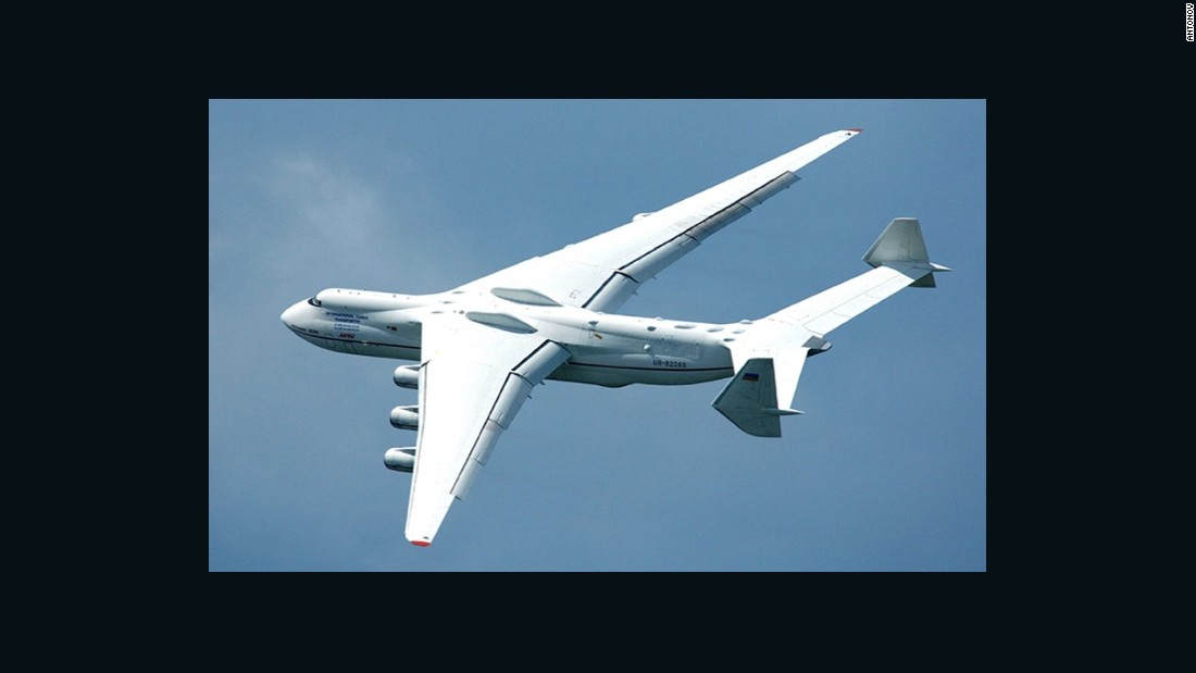 "The <a href=""/2016/05/11/aviation/worlds-biggest-airplane-ukraine-prague-australia/index.html"" target=""_blank"">biggest plane in the world,</a> this six-engined giant was originally designed to carry the Soviet space shuttle on its back but was later reconverted to airlift cargo, a job it still performs today."