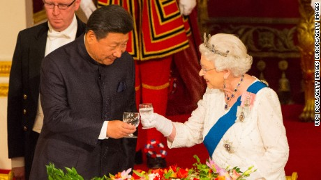 Chinese President Xi Jinping and the Queen during Xi's UK visit.