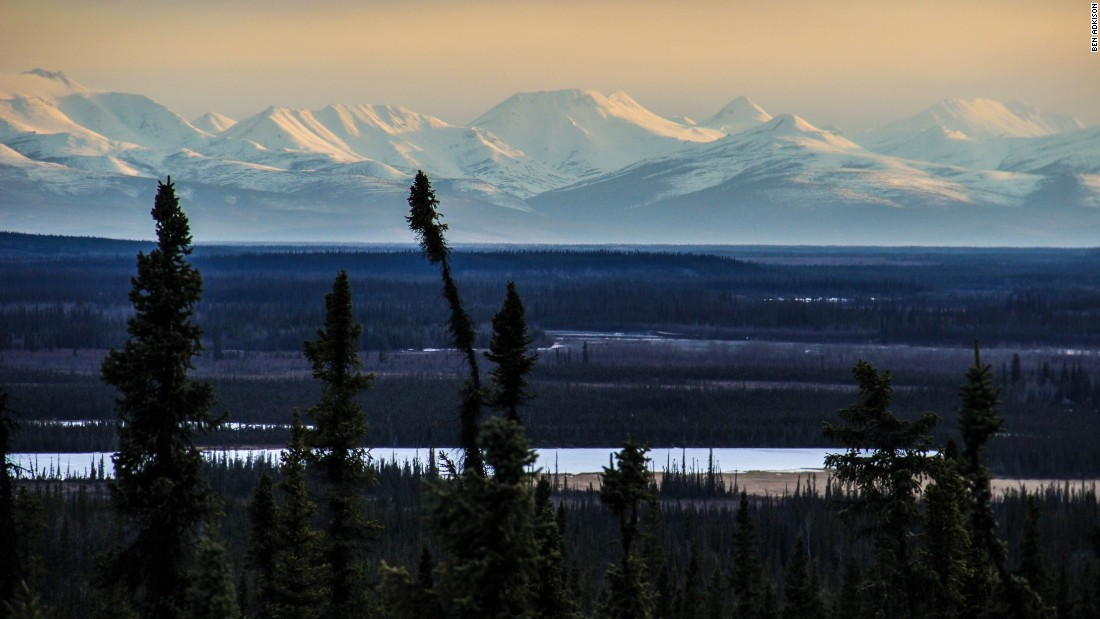 For many travelers, the Wrangell Mountains (here from the Alaska Highway between the Canadian border and Tok, Alaska) offer the first encounter with giant mountains inside Alaska.