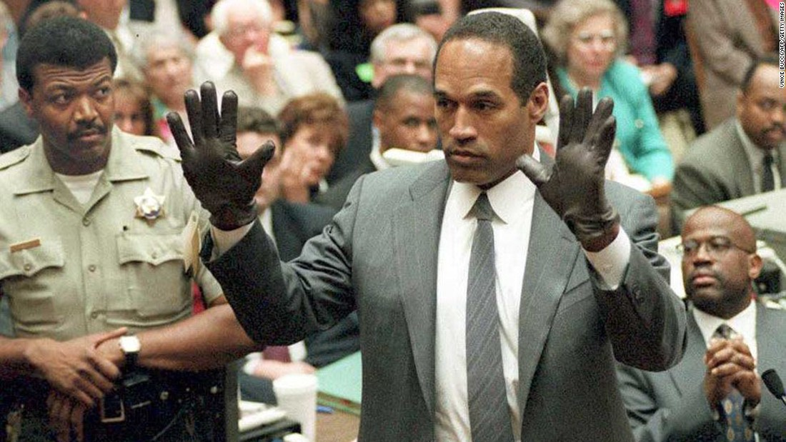 Blood-stained gloves were among the evidence in the 1995 murder trial of O.J. Simpson. After the monthslong trial -- in which the defendant famously tried on the gloves -- he was acquitted in the deaths of his ex-wife Nicole Brown Simpson and Ronald Goldman. Police say the case still is open, and the gloves and other evidence reportedly still are in authorities' possession.