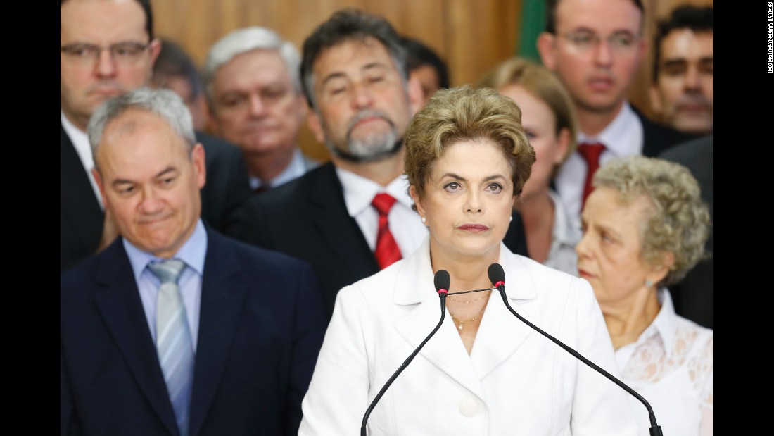 "Brazil's Dilma Rousseff was ousted from the presidency on August 31, 2016, when the <a href=""http://www.cnn.com/2016/08/31/americas/brazil-rousseff-impeachment-vote/index.html"">Senate voted 61-20 to find her guilty of breaking budgetary laws</a> in an impeachment trial. Rousseff had been suspended earlier. Here are other world leaders who left office before the end of their term, either by choice or by constitutional action:"