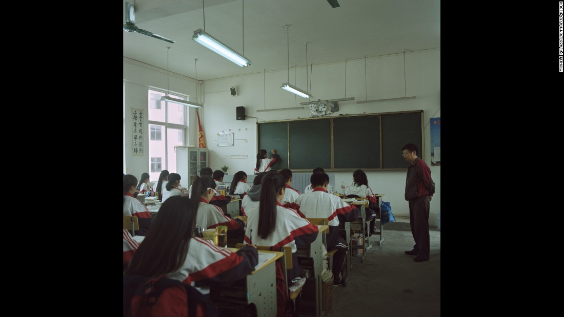 Children take math lessons at a high school in Leishan. Palazzi said 90% of the students come from the Miao minority group.