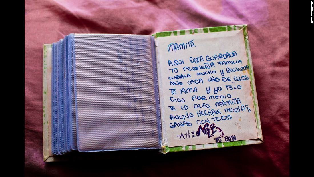 "Nayeli, a 19-year-old who disappeared in 2011, wrote this note in a photo book for her mother. Part of it says, ""Here is your little family safe, remember that all of us love you."""