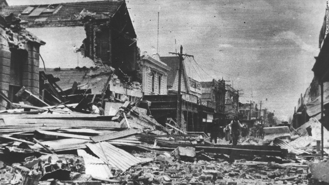 The town was almost destroyed by the Hawke's Bay earthquake in 1931. This image was taken on Emerson Street before a subsequent fire caused even more destruction. Thousands of people across the district were injured and 161 people in Napier died.