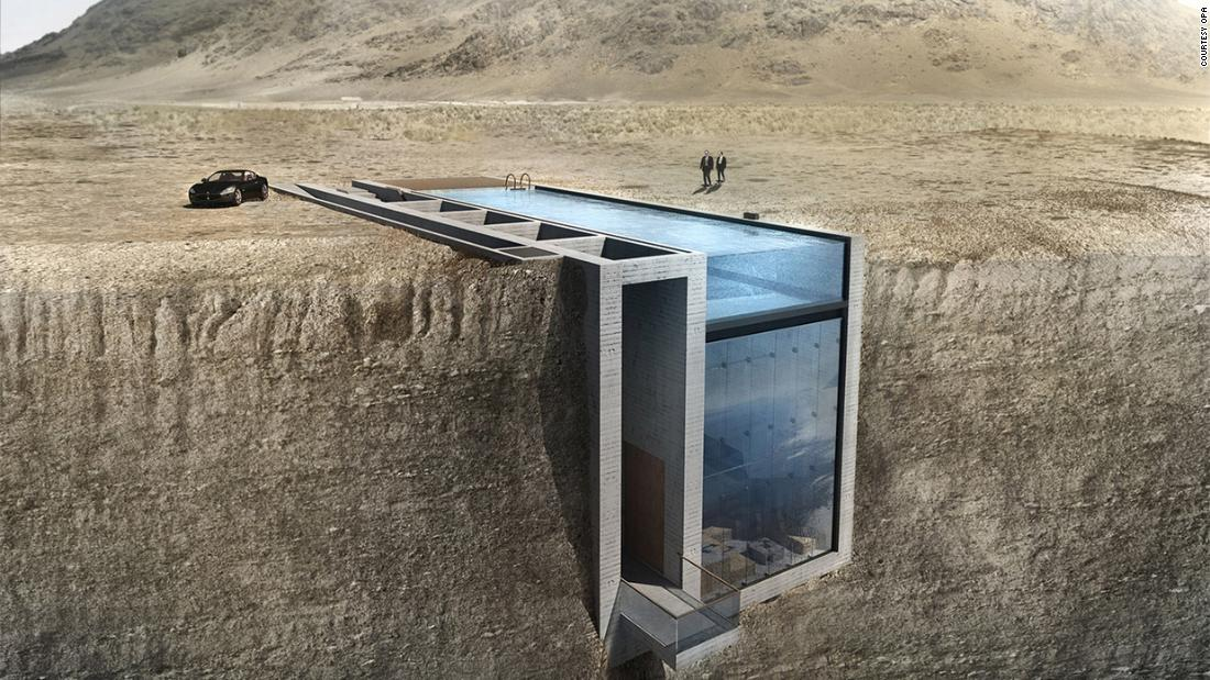 This house, to be built into a cliff, is a concept by OPA Architects. It features a swimming pool as its rooftop that doubles as a natural light resource.