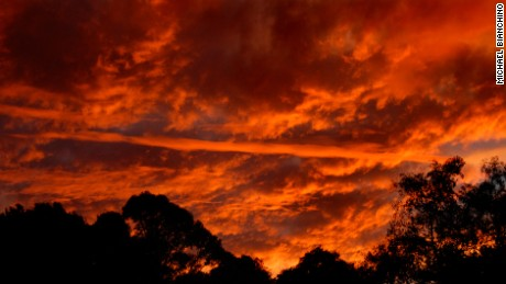 The sunset seen in the suburb of Cheltenham, Sydney, on May 9.