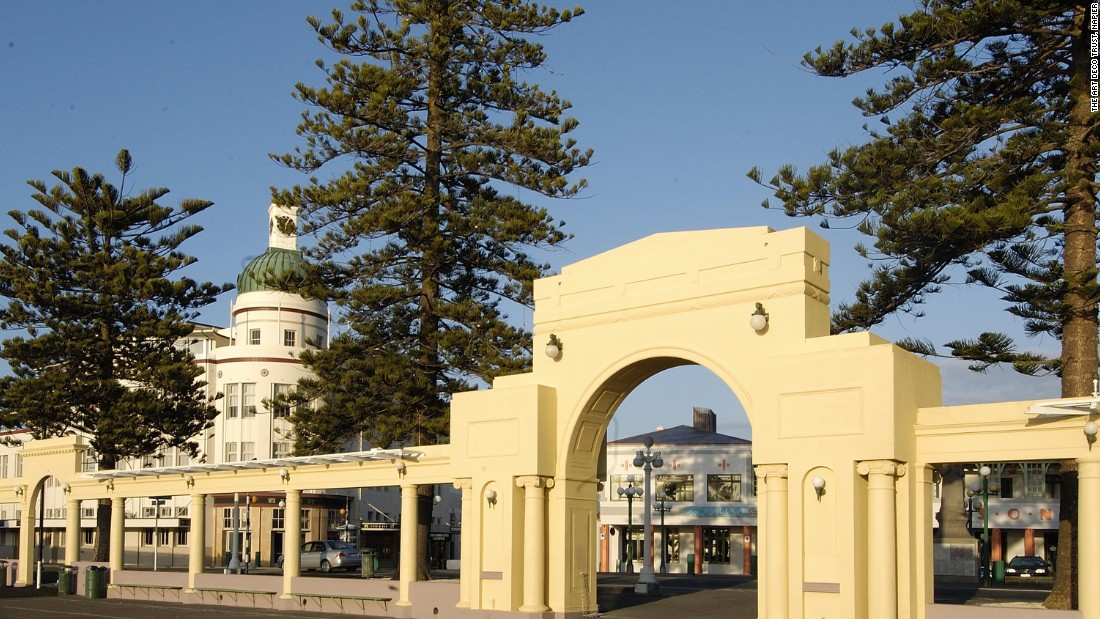 During the 1930's, the phrase 'The  New  Napier' was frequently used to describe the rebuilt town. The New Napier Arch, designed by local architect J. T. Watson, was built in 1937 to commemorate the reconstruction.