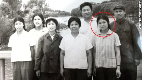 Yu Xiangzhen, circled, and her family in the 1970s.