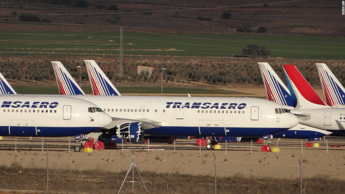 Teruel Airport in eastern Spain is Europe's largest industrial airport. It might look like a plane junkyard, but most of the airplanes are waiting for the chance to fly again.
