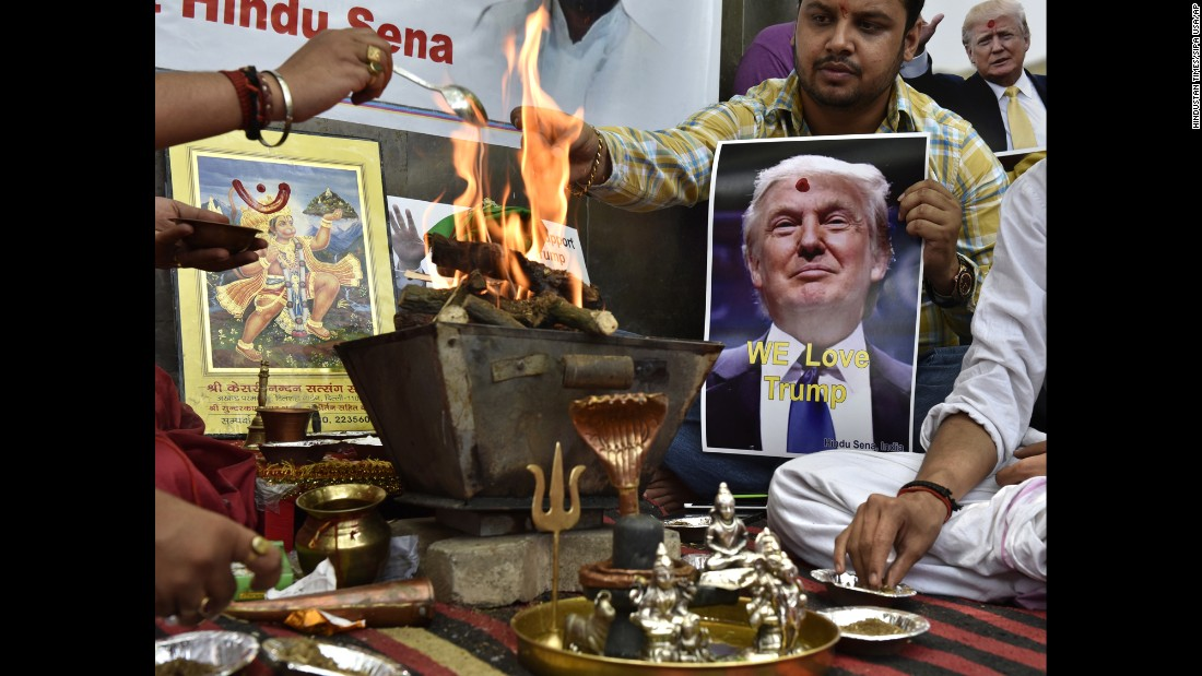 Activists in New Delhi chant mantras on Wednesday, May 11, invoking the Hindu gods to help Donald Trump win the upcoming U.S. presidential election. Trump's remarks on terrorist groups abroad have earned him some fans in faraway India.