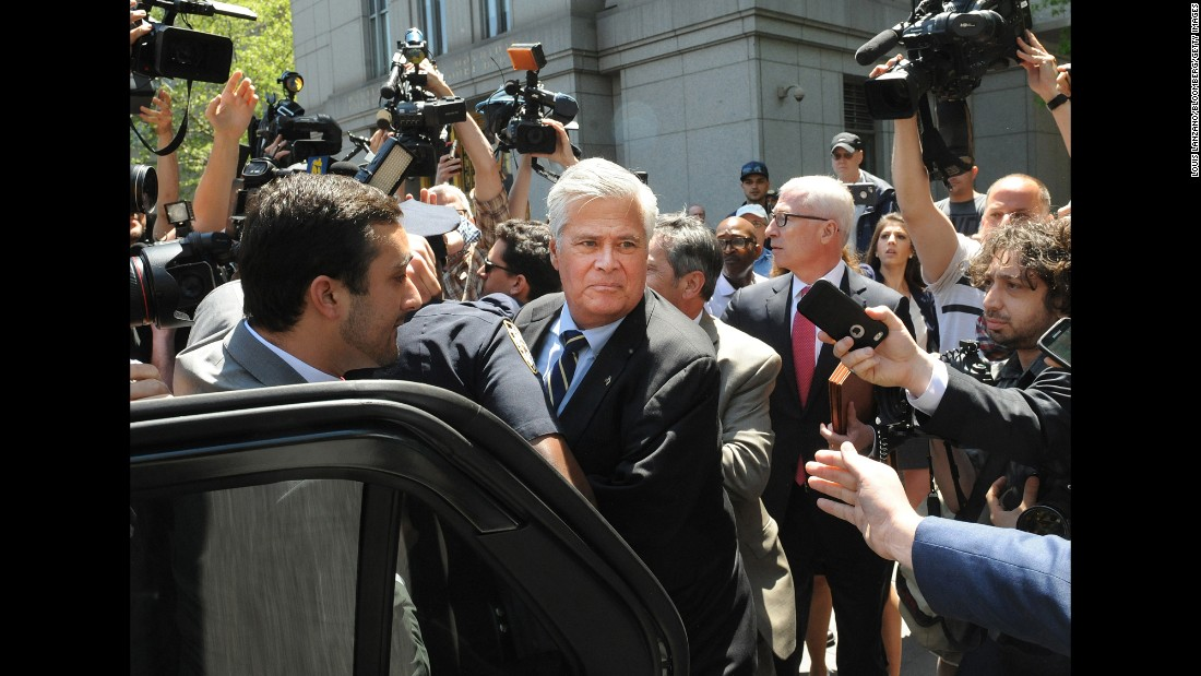 Dean Skelos, the former Senate Majority Leader in New York, exits a federal court on Thursday, May 12. Skelos was sentenced to five years in prison on federal corruption charges.