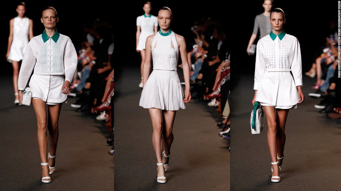 Alexander Wang reinterprets Adidas' cult classic Stan Smith tennis sneaker, transforming its signature texture and white-and-green colorways into perforated tennis dresses for Spring-Summer 2015.