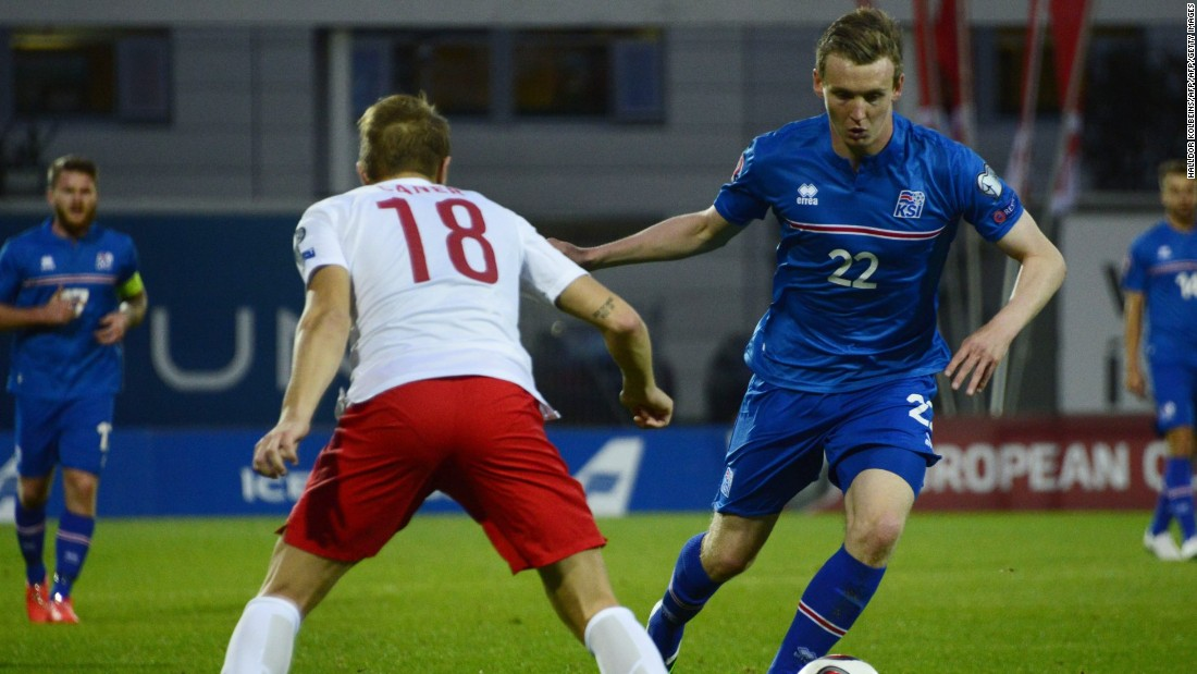 Forward Jon Dadi Bodvarsson (right) takes on a Turkish defender during the Euro 2016 qualifier in September 2014. Iceland won the match 3-0, giving them a the perfect start to what would become a fairytale qualifying campaign.