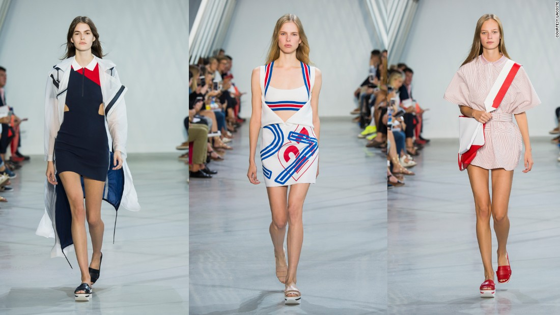 Gearing up for the Rio Olympics, Lacoste's creative director Felipe Oliveira Baptista presented a catwalk collection of graphic sportswear draped in billowing flags for Spring-Summer 2016.
