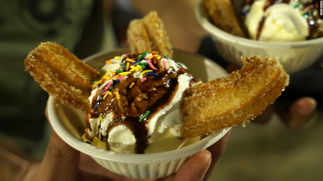 A churro sundae from Churros Locos, a venue in one of the hippest street food cities, Portland.