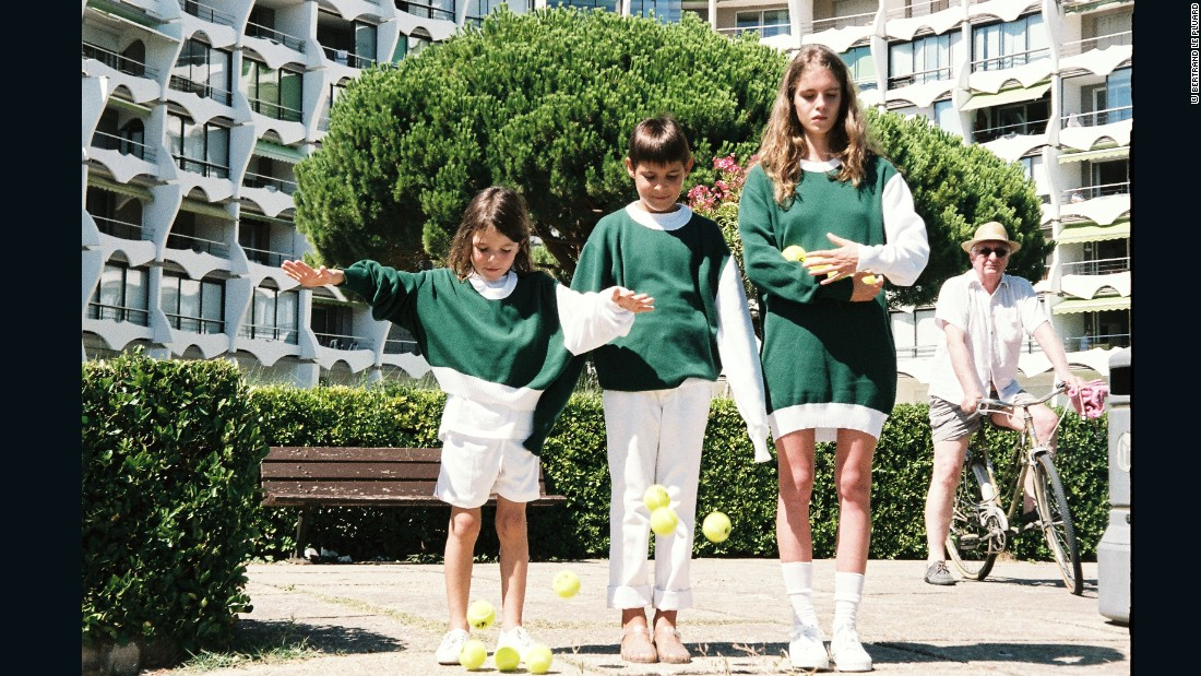French designer Simon Porte Jacquemus referenced a playful childhood spent in the seaside town of La Grande Motte in the south of Franc, with his tennis socks and sneakers teamed with easy sportswear separates and patterns alluding to the town's outlandish Jean Balladur architecture.