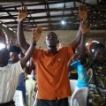 liberia praying churchgoers