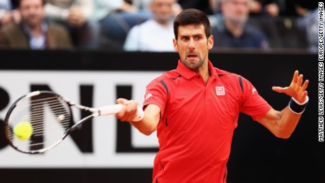 Novak Djokovic strikes a forehand during his straight-set win over Rafael Nadal at the Italian Open.